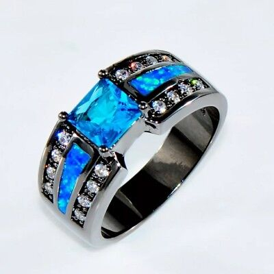 ~ Victorian Style Sz 6 ~ Black Band ~ Blue Sapphire & Blue Opal Engagement Ring~