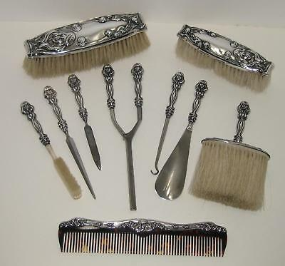 Victorian Art Nouveau Lady Sterling Silver 10 Pc Vanity Grooming Set Brush Comb