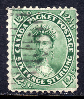 CANADA #18 12½c, 1859 FIRST CENTS PERF12, F, GRID