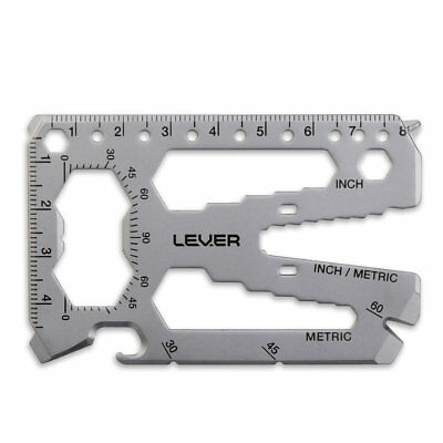 Lever Gear Toolcard Pro - 40 in 1 Silver Stainless Steel Credit Card Multitool