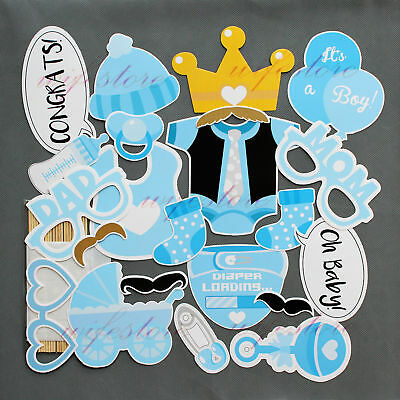 25pcs Baby Shower Photo Booth Props Boy Mister New Born Party Decoration UK T349