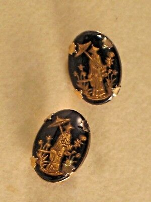 Vintage 1950's/60's Asian Motif Gold and Black EARRINGS - Screw-back