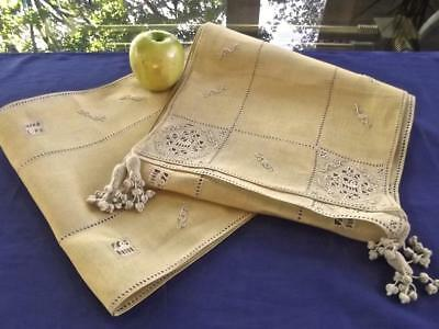 """Antique 1920 Italian Tuscan Yellow Linen 104"""" Long Runner Figural Needle Lace"""