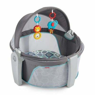 Fisher Price Baby Dome On the Go Foldable Portable w Toys Canopy Bubbles 0-12mos