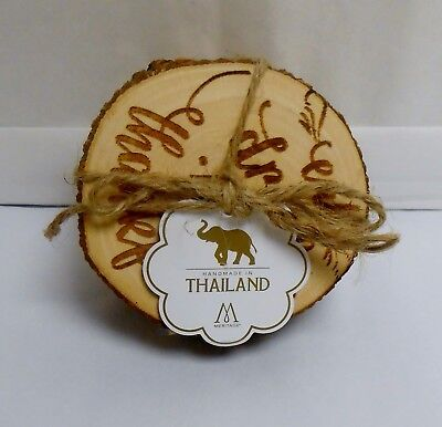 Meritage Set of 4 Wood Coasters Eat,Drink & Be Thankful Hand Made from Thailand