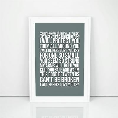 Phil Collins You'll Be In My Heart - Tarzan And Jane Lyrics Poster Print Song