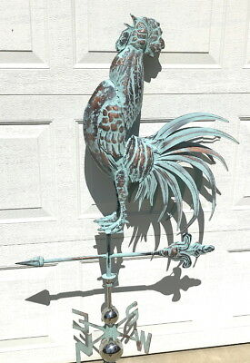 3D CROWING ROOSTER Weathervane AGED COPPER PATINA FINISH Handcrafted FUNCTIONAL
