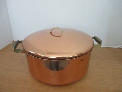 """VINTAGE Copper & Brass 9"""" SAUCE PAN & LID / STOCKPOT~Stainless Steel Interior"""