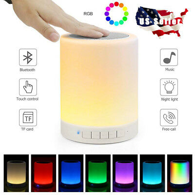 LED Bluetooth Speaker Stereo Touch Control Night Light Lamp Alarm Clock Radio US