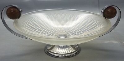 French Art Deco Opalesent Glass Chrome Footed Serving / Wood Handle Platter