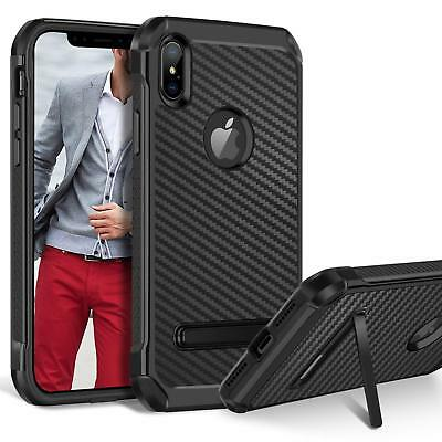 Fits iPhone Case Kickstand Heavy Duty Shockproof Carbon Fiber Protective Cover