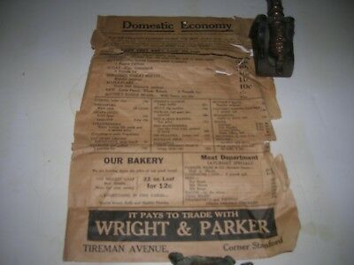 1930 Detroit WRIGHT & PARKER DEPRESSION GROCERY STORE FLYER TIREMAN & STANFORD