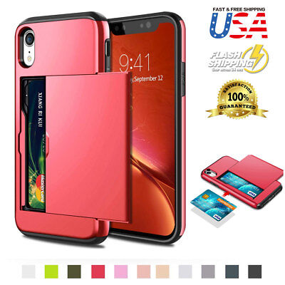 Fits Apple iPhone Wallet Case Card Holder Protection Shockproof Bumper Cover