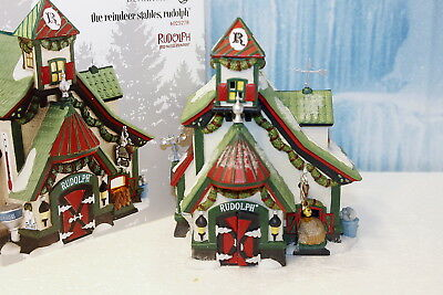 """Department 56 North Pole  """"The Reindeer Stables - Rudolph"""""""