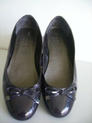 Ladies M and S Footglove black patent ballet flats in size 6 wider fit worn once