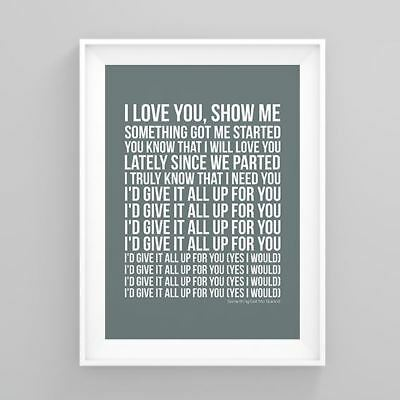 Simply Red Something Got Me Started Lyrics Poster Print Wall Song Artwork