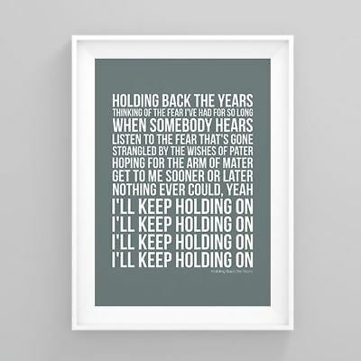 Simply Red Holding Back the Years Lyrics Poster Print Wall Song Artwork