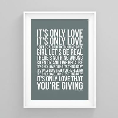 Simply Red it's only love Lyrics Poster Print Wall Song Artwork