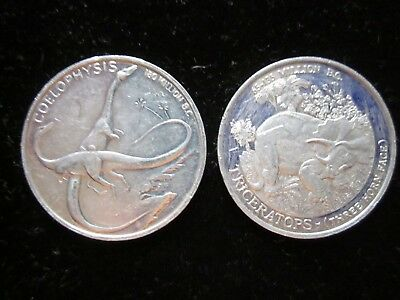 1988 Fruity Pebbles Cereal Premium,dinosaurs,coelophysis,triceratops Coins,