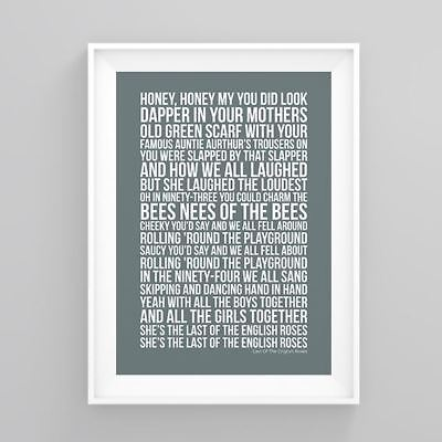 Pete Doherty  Last Of The English Roses  Lyrics Poster Artwork Song Print
