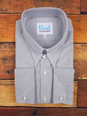 WW2 1930s 1940s Revival Aspen Blue Spearpoint Collar Mens Cotton Shirt with Tab