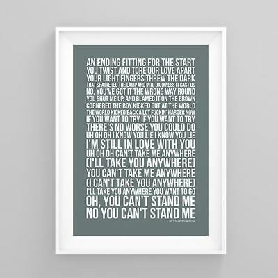 The Libertines Can't Stand Me Now Lyrics Poster Artwork Song Print
