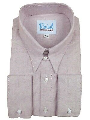 WW2 1930s 1940s Revival Aspen Red Mens Spearpoint Collar Shirt with Tab
