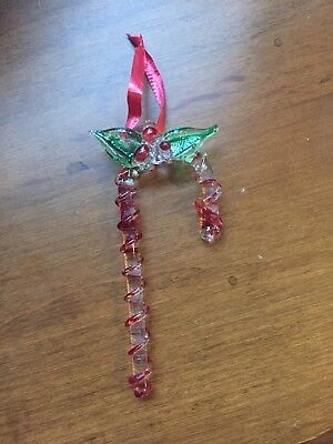 Hand Blown Art Glass Candy Cane Ornament Green and Red - North Pole NY