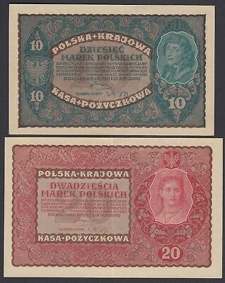2x Polen Poland: 10 + 20 Marek Mark 23.8.1919 (P-25, 26)