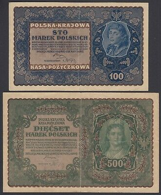 2x Polen Poland: 100 + 500 Marek Mark 23.8.1919 (P-27, 28)