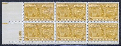 US Stamp, E18 Special Delivery, Plate Block of 6, VF MNH. Free shipping