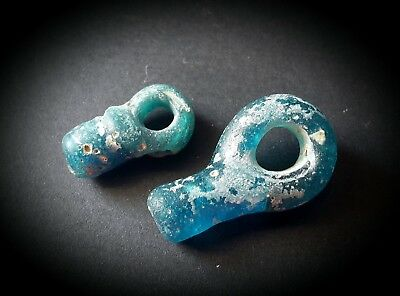 2 Rare Ancient Roman Blue Glass Phallic Amulet Beads Period 200 Bc - 100 Ad