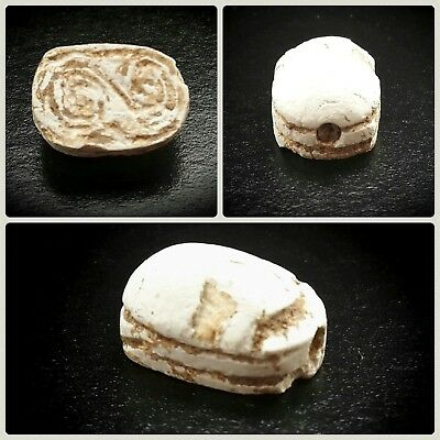 Egyptian Glazed Scarab Seal Bead Featuring Symbols Late Period, 664-332 BC