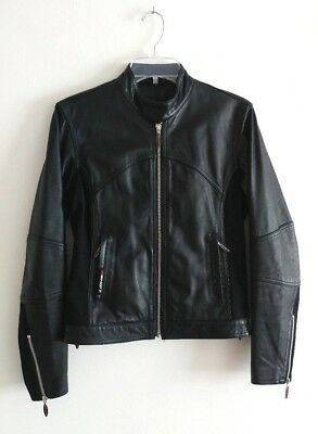 SHIFT black leather motorcycle jacket womens size S **great condition**