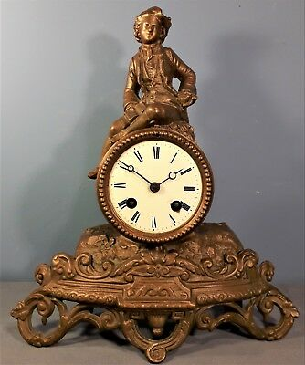 Antique French Gilded Spelter Mantel Clock by Japy Freres, for spares or repair