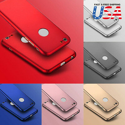 For iPhone 8 7 Plus 360 Hybrid Full body case Tempered Glass Screen Protector