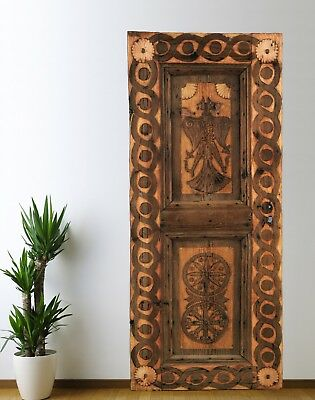 Antique Turkish Door Carved,Vintage Solid Wood Panel Architectural (71'')