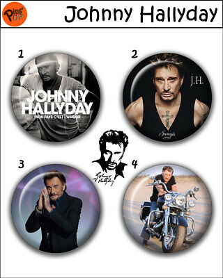 """Collection 4 Pin/Button/Badge 'Johnny Hallyday' Ø32mm/1,25"""""""