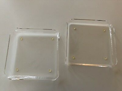 """2 Vintage mid century modern acrylic/lucite 8""""x 8"""" serving trays/plates"""