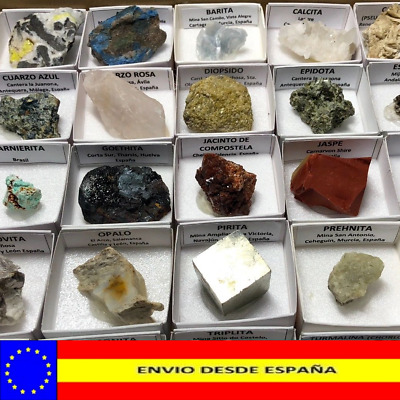 Minerals collection in 4x4 cms box to choose. See list.