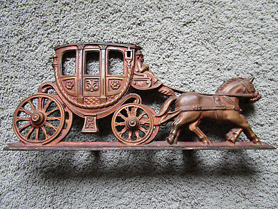 Antique Cast Iron Stage Coach and Horses Door Stop HEAVY - Stamped - SPANORA