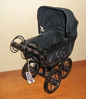 "Victorian Black WICKER & Wire 15""`DISPLAY Baby CARRIAGE w Folding CANOPY~TAG"