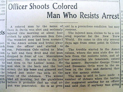 1906 newspaper Unarmed Negro man shot while fleeing police - BLACK LIVES MATTER