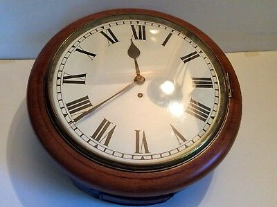 Late Victorian Circa 1880  Single Fusee Station Railway Clock & heavy pendulum