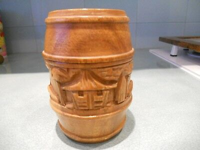 Vintage Carved Wooden Chinese / Japanese / Oriental ?  Barrel Shaped Tea Caddy