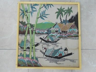 Unusual Vintage Retro Fabric Art Framed Picture Japanese Chinese Oriental Signed