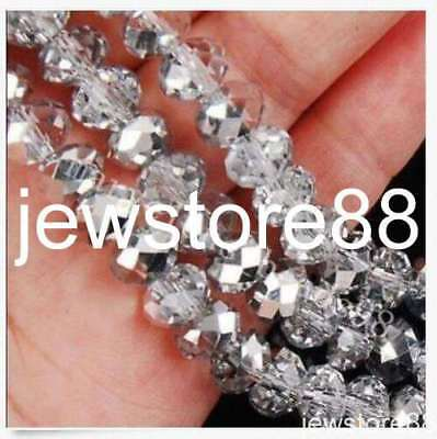 200pcs 4X6mm silvery Crystal Faceted Gems Loose Beads