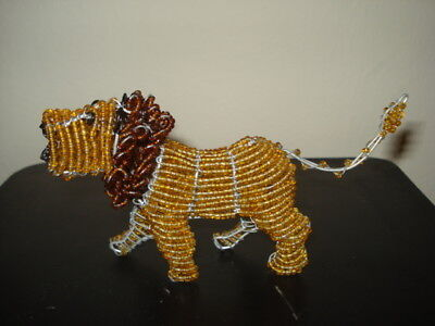 "African Handmade Gold Glass Bead & Wire 6"" LION  figurine Sculpture"
