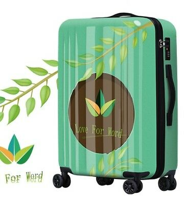 E407 Green Leaves Universal Wheel ABS+PC Travel Suitcase Luggage 20 Inches W
