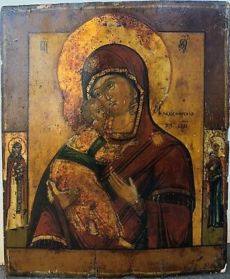 Fine, Early 19th c. Russian Orthodox Icon 'Mother of God Vladimirskaya'